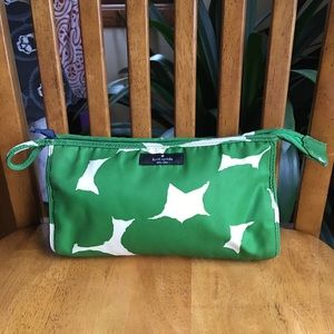 Kate Spade green and ivory cosmetic bag RARE